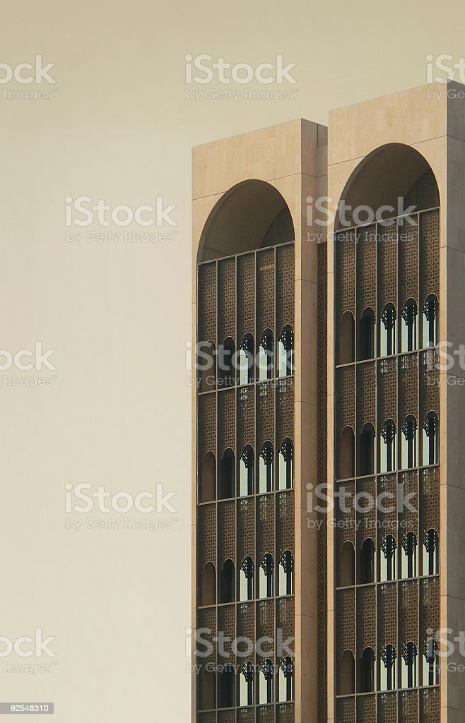Windows of Arab Building in Desert showing architectural design features royalty-free stock photo