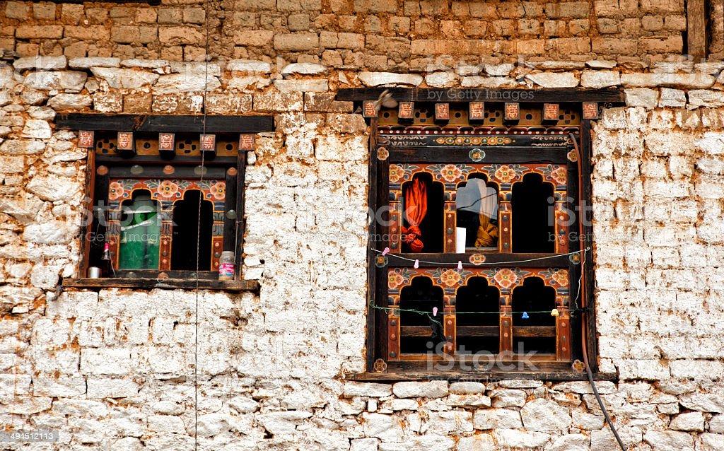 Windows of Bhutanese Building stock photo