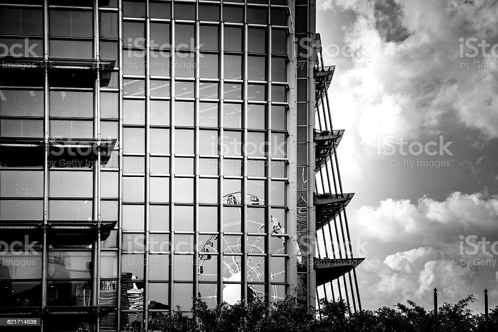 windows of business building with B&W color stock photo
