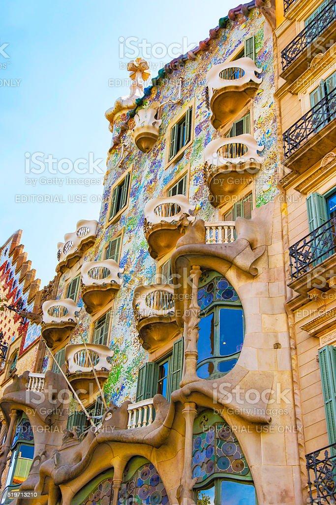 Windows of Casa Batllo building in Barcelona in Spain stock photo