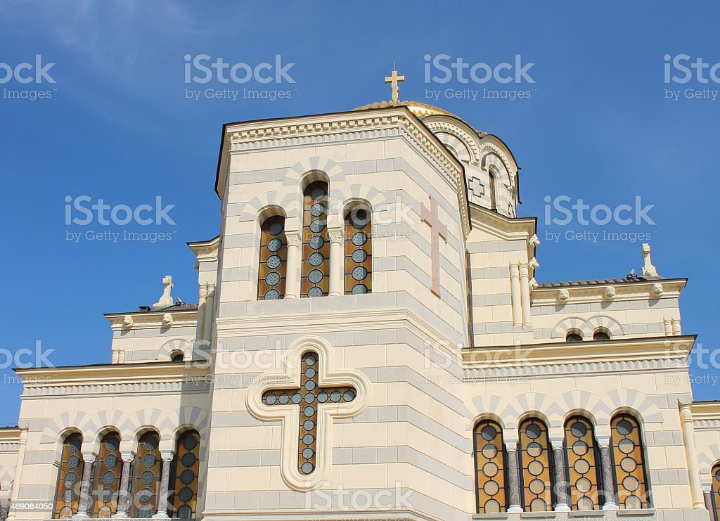 Windows of cathedral Vladimirsky in Khersoness, Crimea stock photo