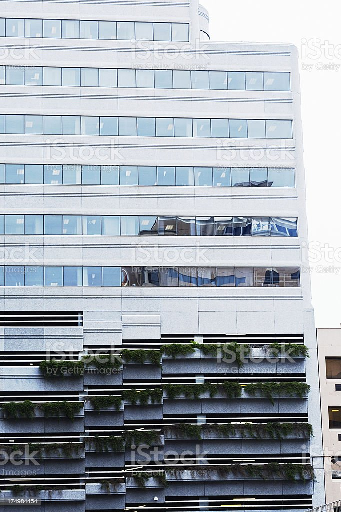 Windows of city building reflect another high-rise in dizzying repetition royalty-free stock photo