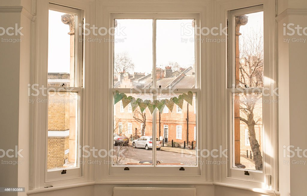 Windows of classic victorian British house stock photo