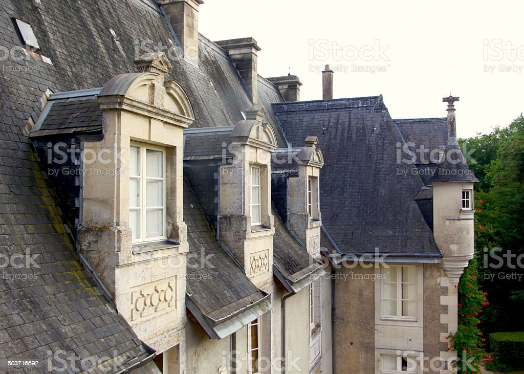Windows Of French Chateau In Central France stock photo
