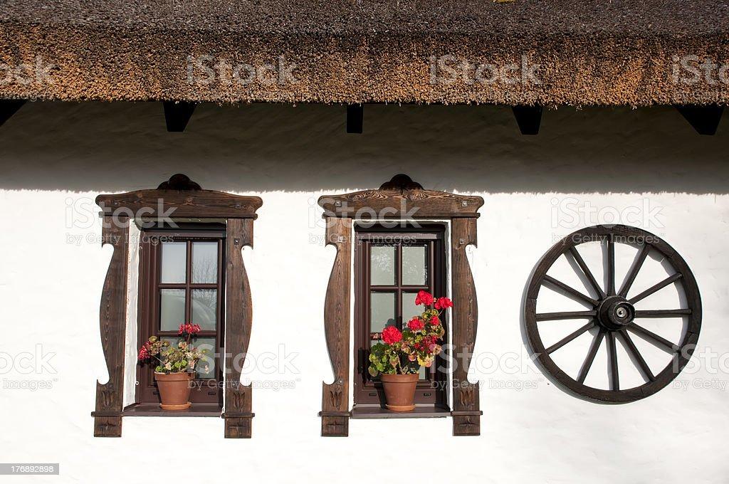Windows of hungarian csarda royalty-free stock photo