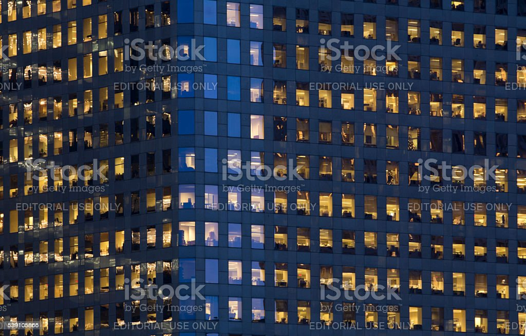 Windows of office building at night royalty-free stock photo