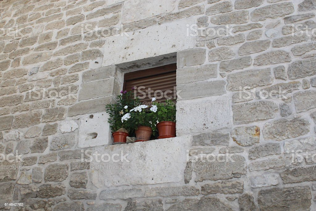 Windows of old houses. stock photo