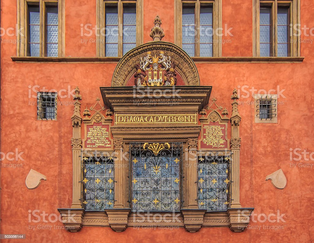 Windows of Prague Old Town Hall stock photo