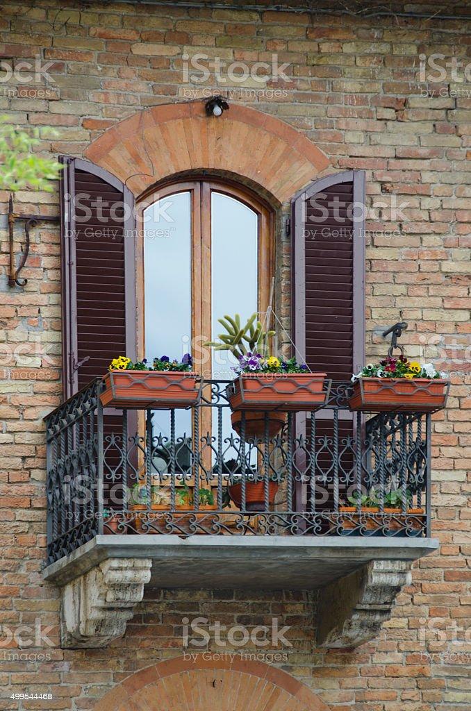 Windows of San Gimignano, Italy stock photo