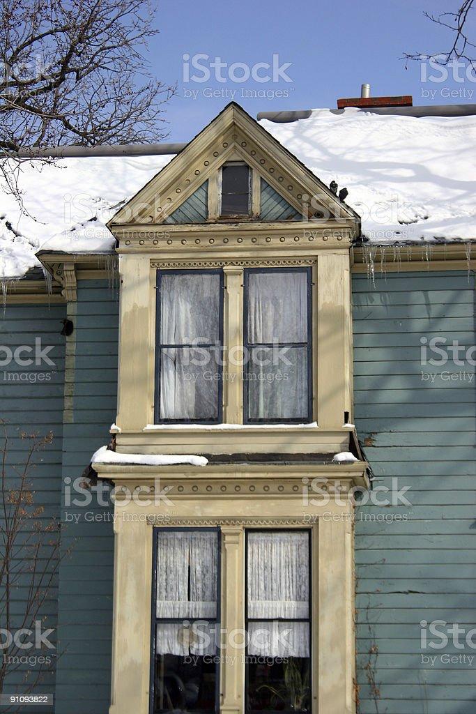 Windows on a Mansion stock photo