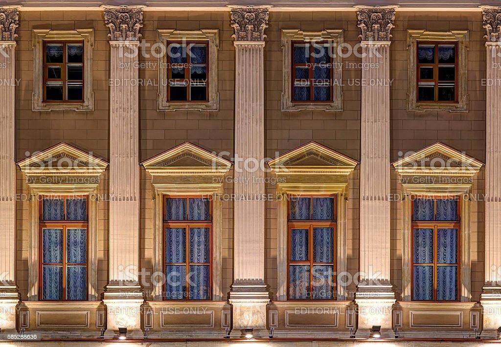 Windows on night facade of Mariinsky Palace stock photo