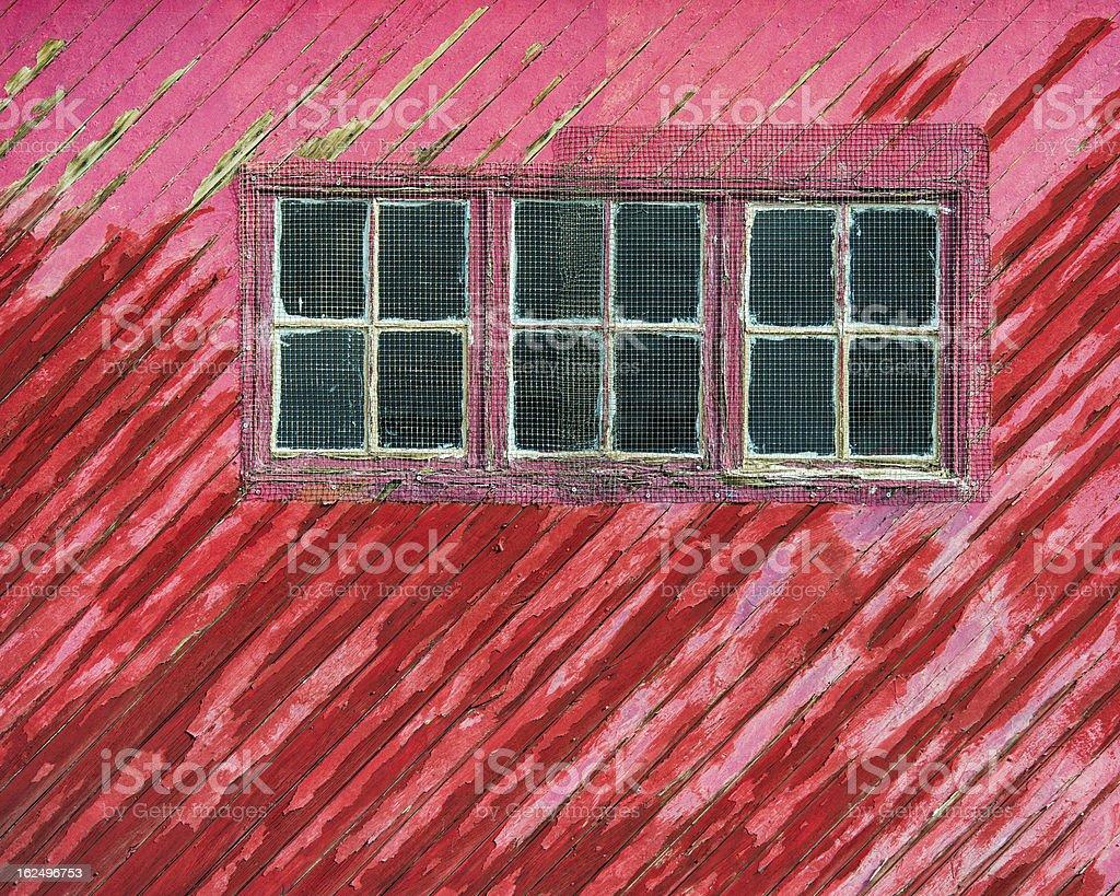 Windows on red wooden door royalty-free stock photo