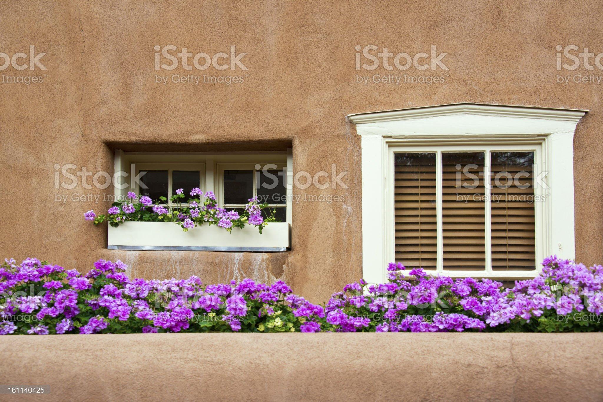 Windows on Southwest Santa Fe Adobe Stucco House royalty-free stock photo