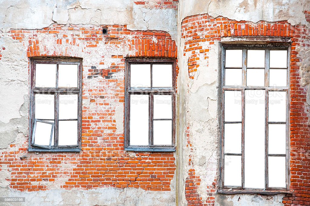 Windows on the brick wall with isolated background stock photo