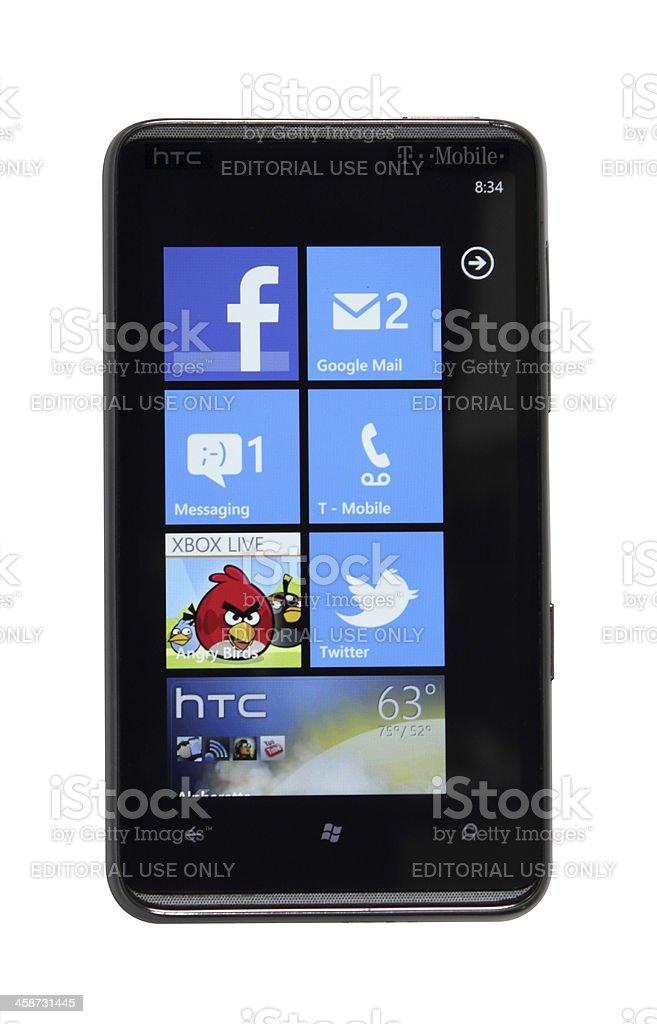 Windows Phone 7 blue stock photo