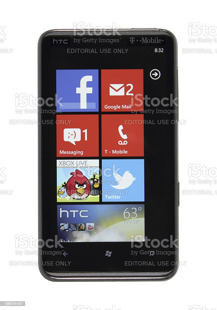 Windows Phone 7 red royalty-free stock photo