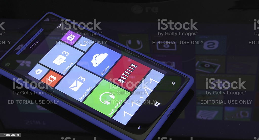 Windows Phone 8 with WNDWs Eight reflection stock photo