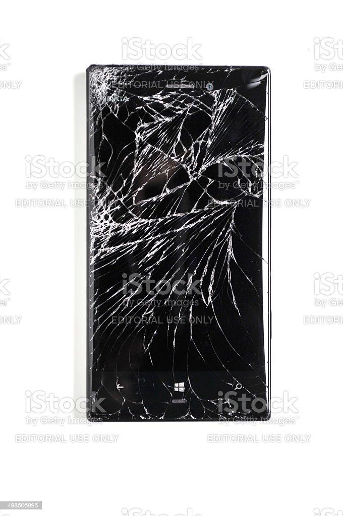 Windows phone with a broken screen stock photo