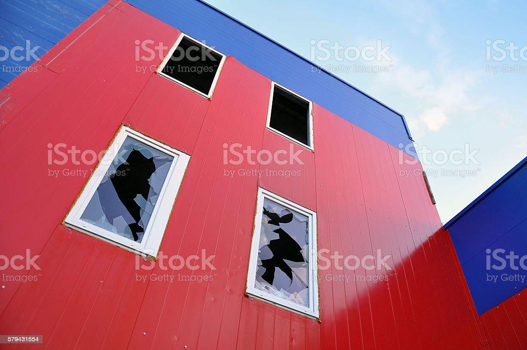 Windows with broken glass. stock photo