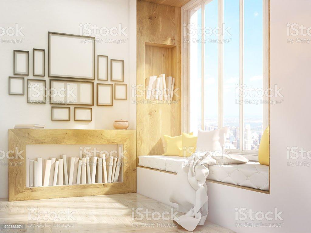 Windowsill seat and frames toning stock photo