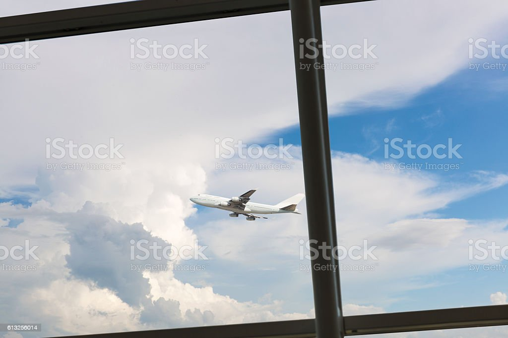 windows,plane and cloudscape stock photo
