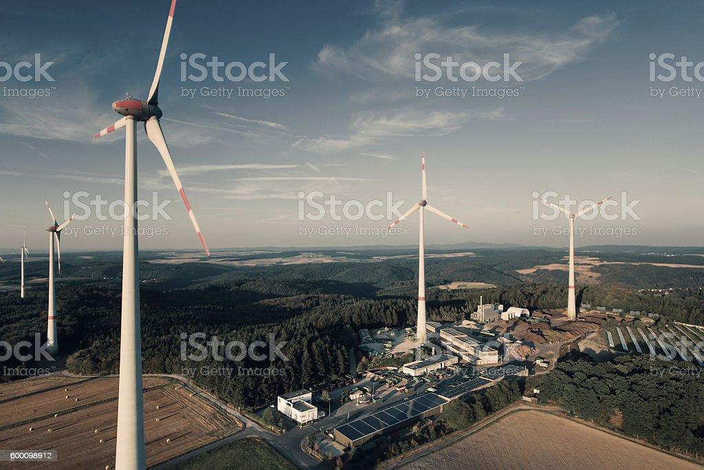 Windpark - aerial view stock photo