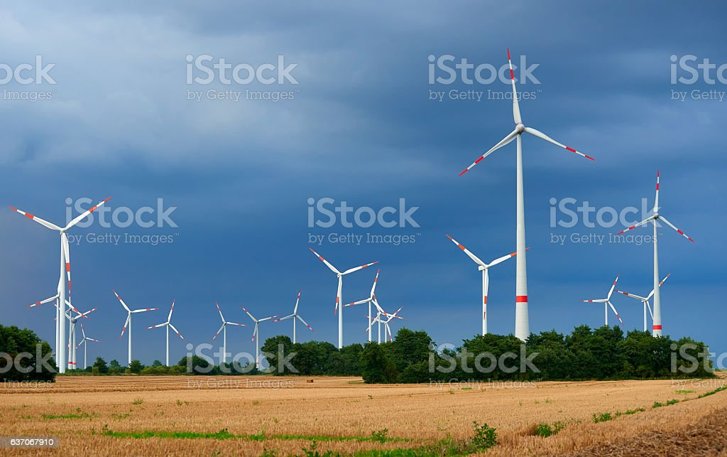 windpark of 15 windmills stock photo