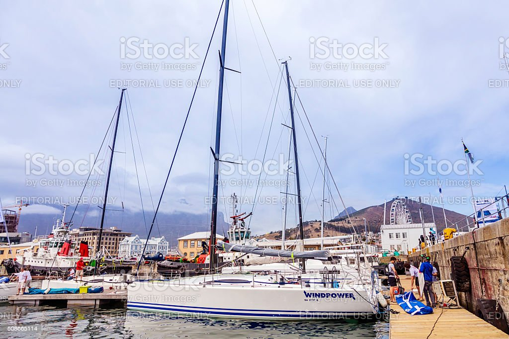 Windpower Racing yacht at Cape Town harbour stock photo