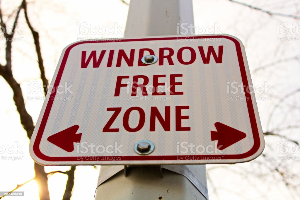 Windrow free zone sign in the city stock photo
