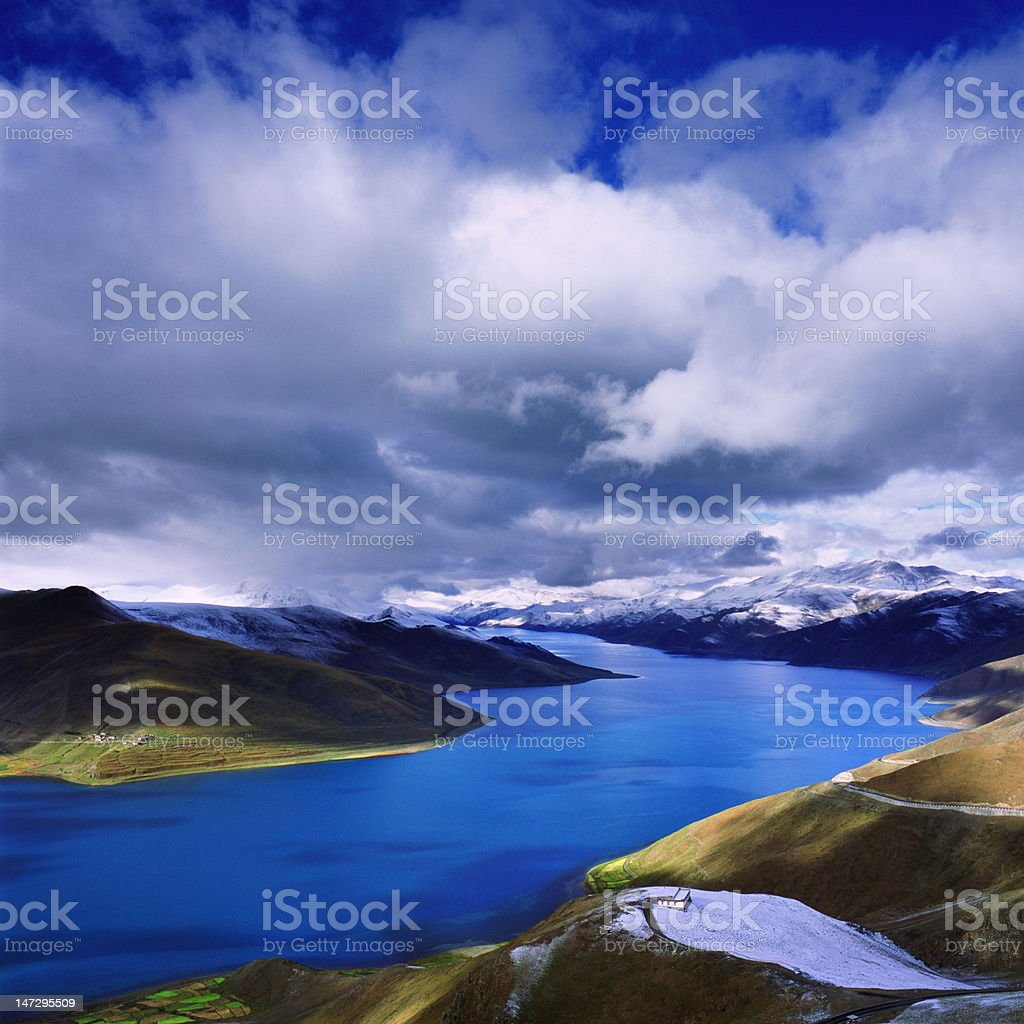 winds and clouds above Sky Lake royalty-free stock photo