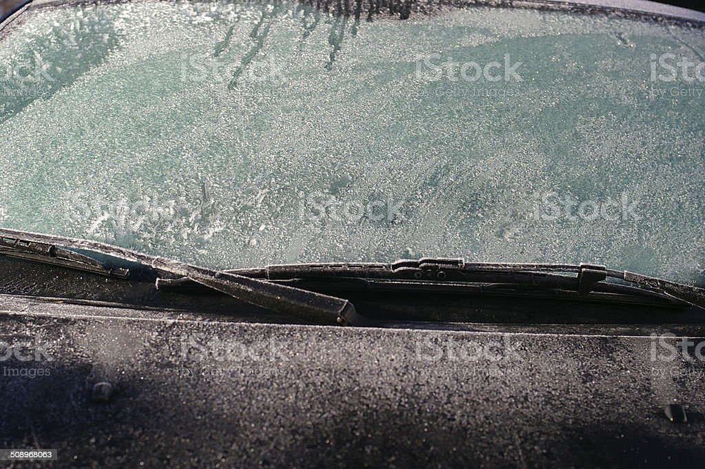 windshield hefty covered with ice stock photo