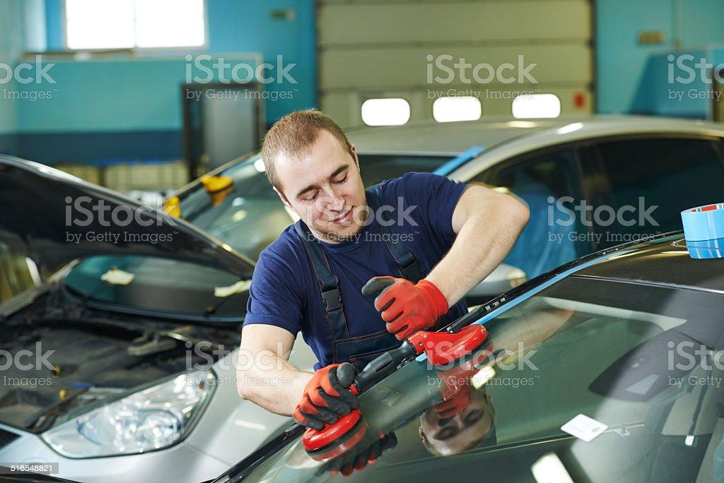windshield windscreen replacement stock photo
