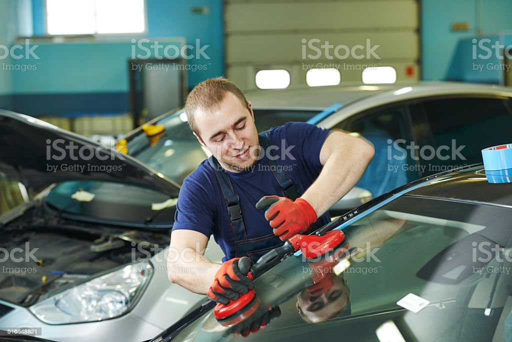 windshield windscreen replacement stock photo