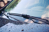 Windshield wiper in rain