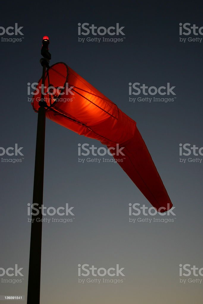 Windsock at Dusk stock photo