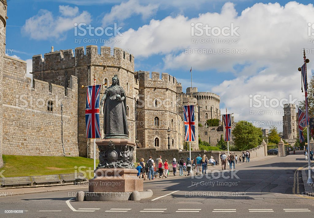 Windsor Castle and Queen Victoria Statue, England stock photo