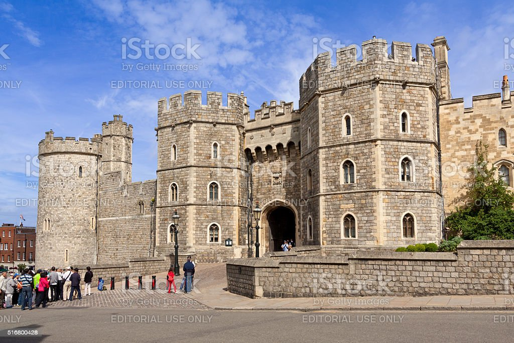 Windsor Castle with Blue Sky and Clouds, Berkshire, England, UK. stock photo