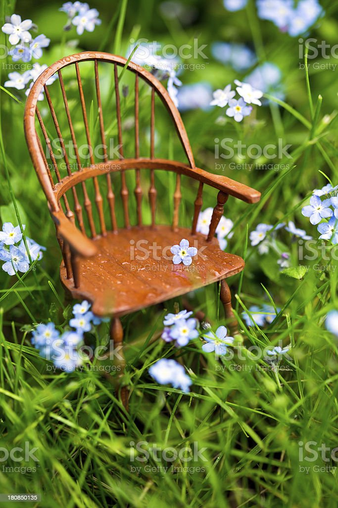 Windsor Chair in the Grass Vertical royalty-free stock photo
