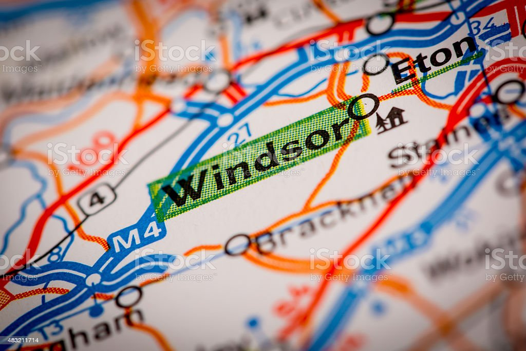 Windsor on a Road Map stock photo