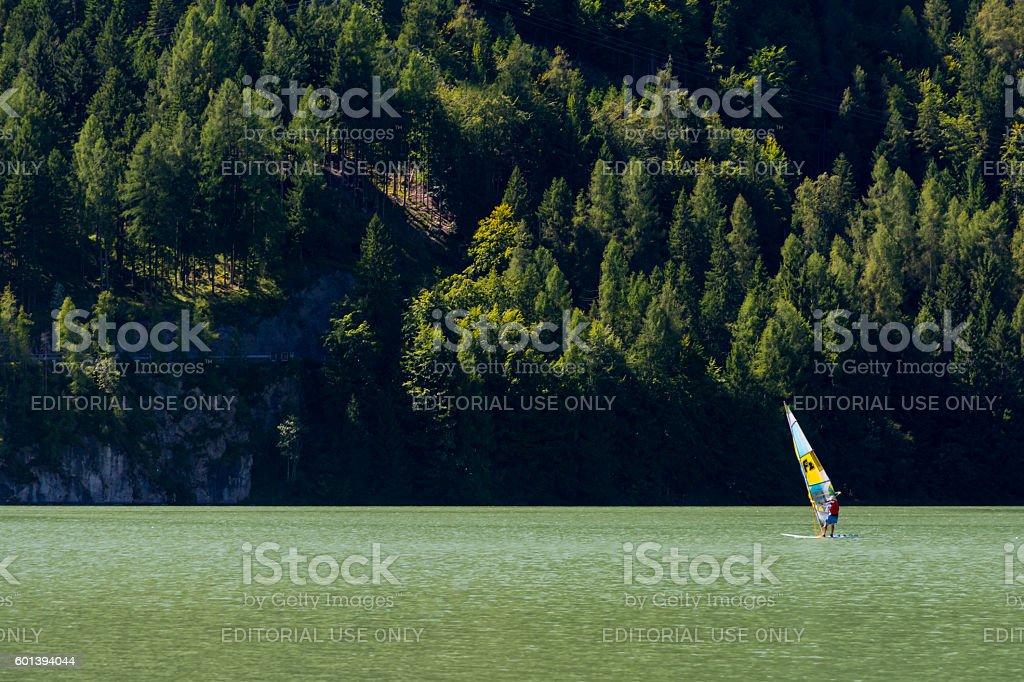 Windsurf on the lake stock photo