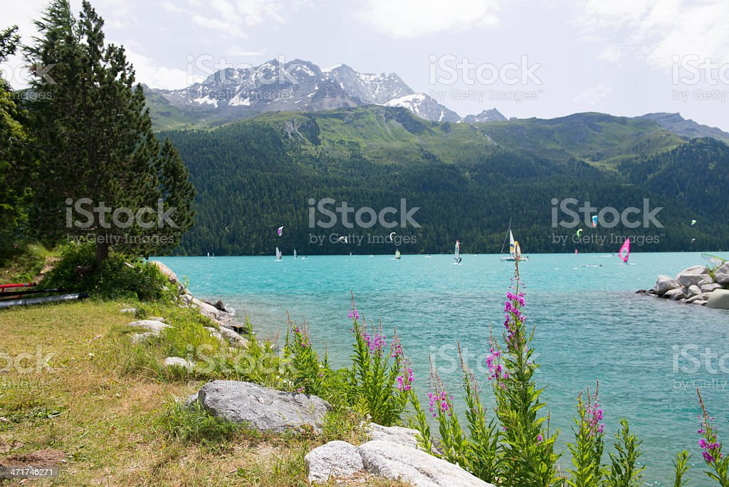 windsurfer and kitesurfer on Lake Silvaplana stock photo