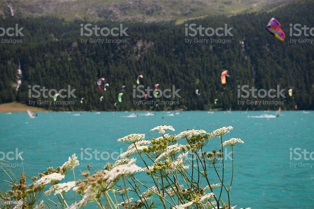 windsurfer and kitesurfer on Lake Silvaplana stock photo