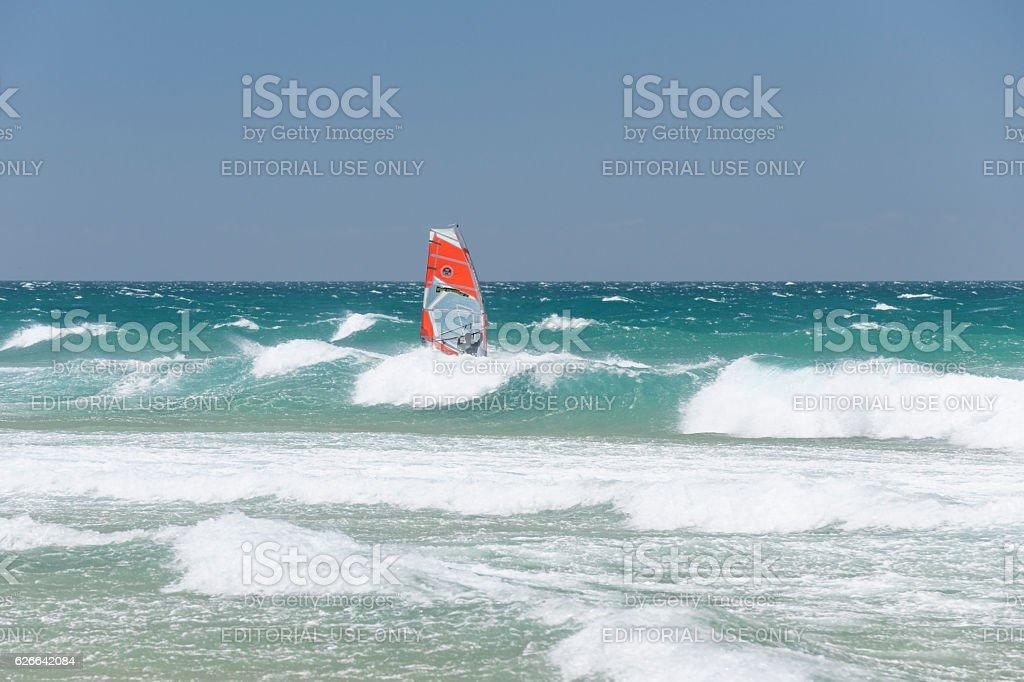 Windsurfer at Guincho Beach near Cascais in Portugal stock photo