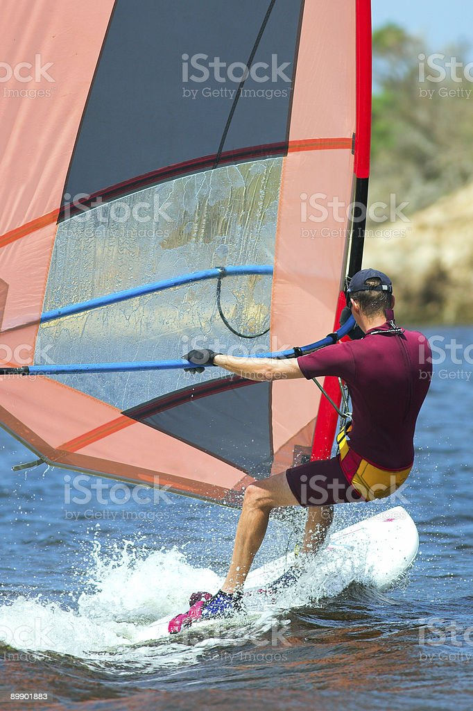 Windsurfer from behind royalty-free stock photo