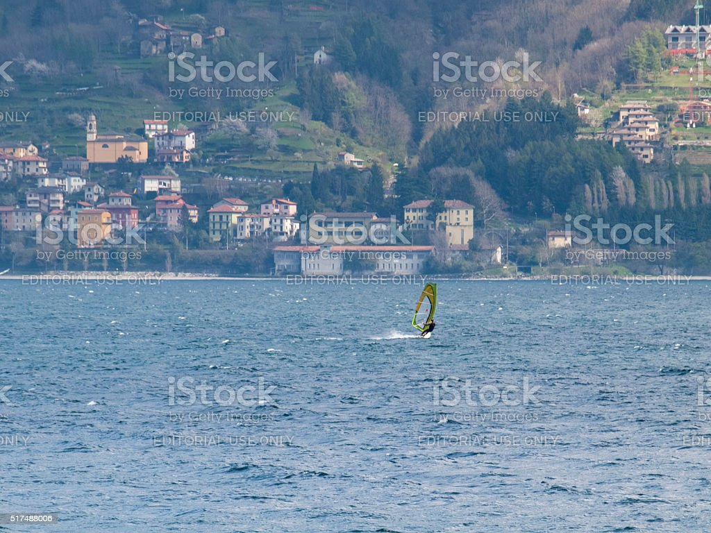 Windsurfer fun in a day of Breva stock photo