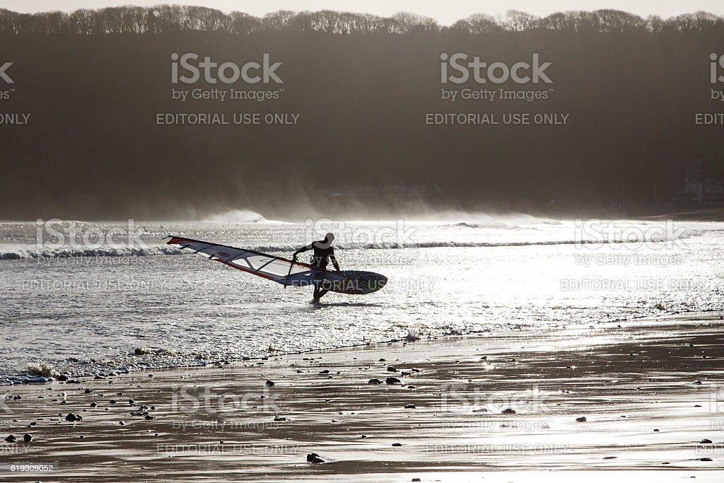 Windsurfer - Gower stock photo