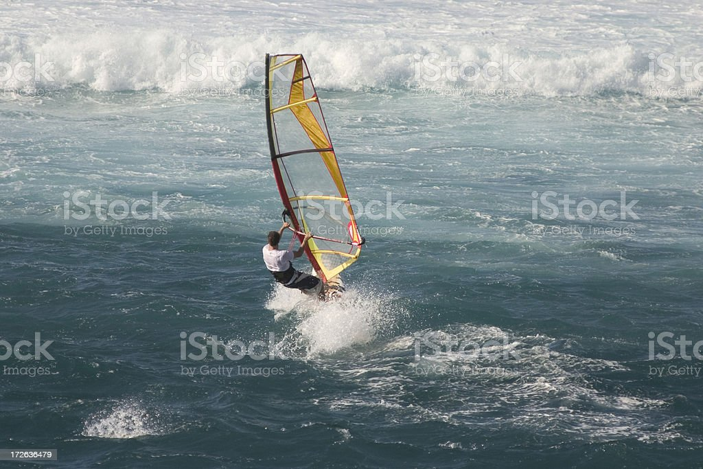 Windsurfer Heads for The Waves stock photo