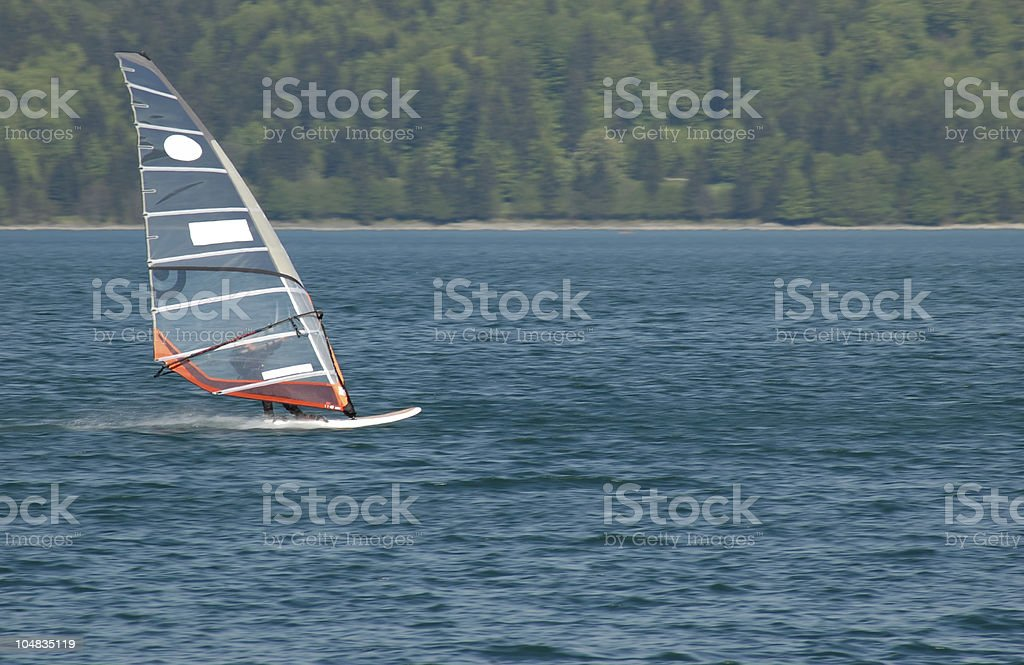 Windsurfer in action stock photo