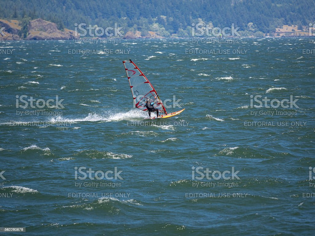 Windsurfer middle Columbia River between Oregon and Washington State stock photo