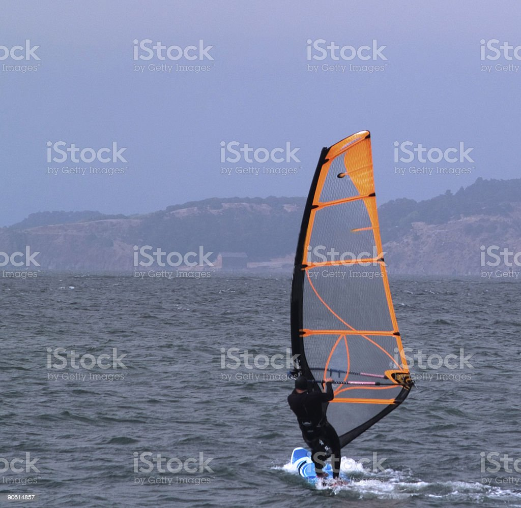 Windsurfer off Crissy Field in San Francisco royalty-free stock photo